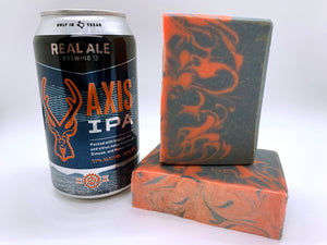 orange and navy craft beer soap handmade in texas with axis ipa craft beer from real ale brewing co blanco texas craft brewery spunkndisorderly craft beer soap