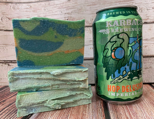 green blue and orange beer soap handmade in texas with hop delusion OG imperial IPA from karbach brewing company texas brewery spunkndisorderly craft beer soaps beer soap for him