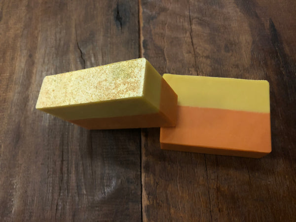 yellow and orange craft beer soap handmade in indiana with gold dipped peach rings slushy xxl beer from 450 north brewing company peach scented soap spunkndisorderly