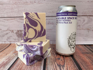 purple and white craft beer soap handmade with ddh double space boots beer from more brewing company villa park Illinois craft brewery tangerine soap for him double dry hopped double India pale ale craft beer