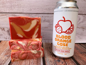red and orange blood orange Gose beer soap handmade beer soap made with beer from Braxton brewing company Braxton lab beer soap