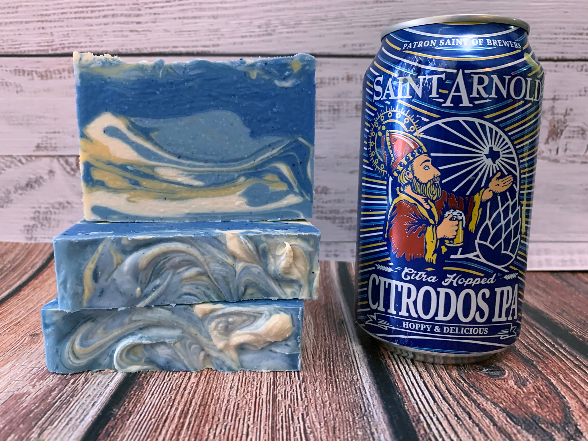blue white and tan craft beer soap handmade in texas with Citra hopped Citrodos IPA craft beer from Saint Arnold brewing company houston texas craft brewery beer soap for him spunkndisorderly craft beer soaps