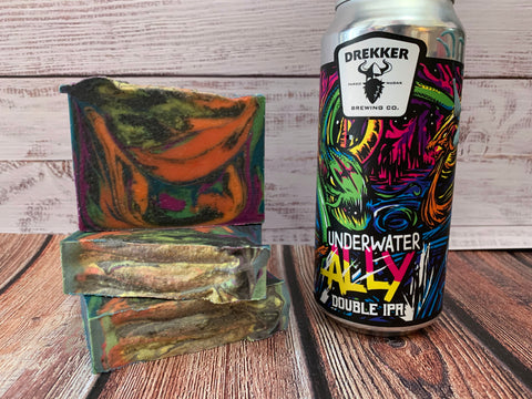 colorful craft beer soap handmade in texas with underwater ally dipa beer drekker brewing co Fargo North Dakota craft brewery spunkndisorderly craft beer soaps