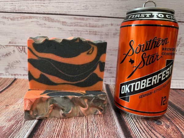 orange and black craft beer soap handmade in texas with Oktoberfest German style festbier from southern star brewing company conroe texas craft brewery spunkndisorderly pumpkin soap