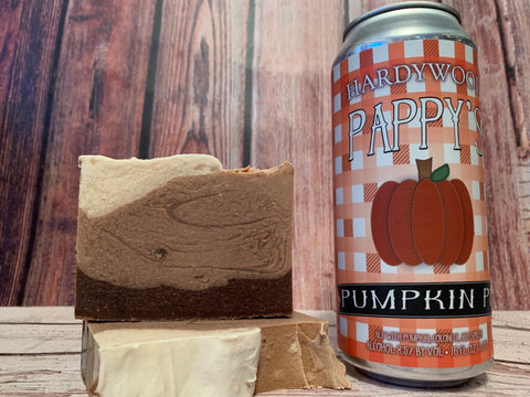 craft beer soap handmade with pappy's pumpkin pie craft beer from hardywood park craft brewery Richmond virigina craft brewery brown pumpkin craft beer soap