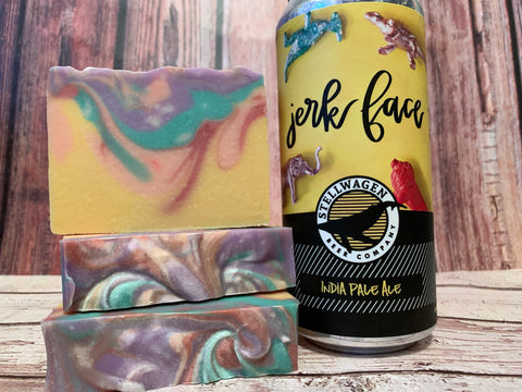 yellow pink red purple and teal craft beer soap handmade with jerk face India pale ale from Stellwagen Beer Company marshfield Massachusetts craft brewery spunkndisorderly cold process beer soap