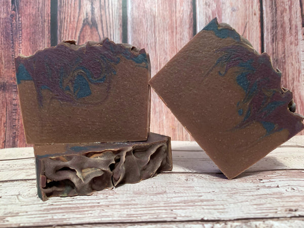 blueberry French toast craft beer soap handmade in texas with craft beer from lickinghole creek craft brewery goochland Virginia craft brewery spunkndisorderly craft beer soap brown and blue craft beer soap