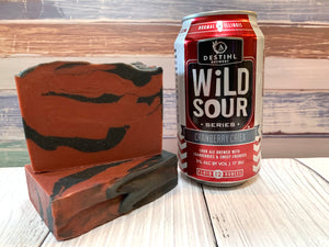 craft beer soap handmade with cranberry criek beer from destihl brewery normal Illinois cranberry beer soap with activated charcoal red and black beer soap spunkndisorderly
