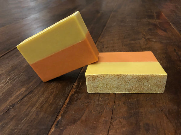 peach beer soap yellow and orange craft beer soap for him handmade in indiana with gold dipped peach rings slushy xxl from 450 north brewing company in Columbus indiana