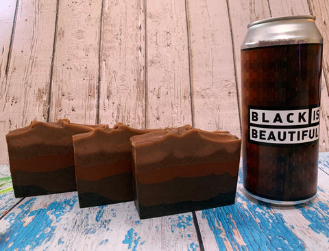 craft beer soap handmade in texas with black is beautiful imperial stout from Spindletap Brewery houston texas craft brewery soap with coffee seed oil