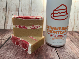 strawberry shortcake craft beer soap handmade with craft beer from Braxton brewing company dessert craft beer soap