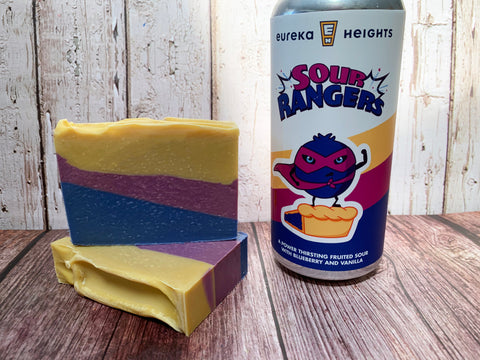 blue purple yellow craft beer soap handmade in texas with sour rangers craft beer blueberry and vanilla from eureka heights brewing company houston texas craft brewery beer soap