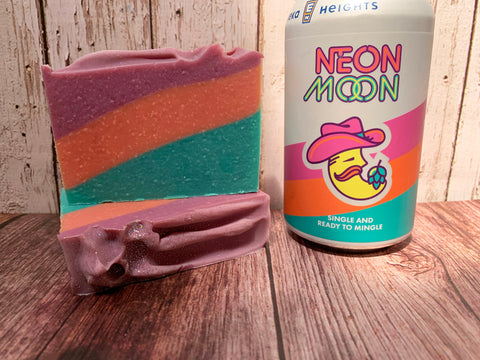 craft beer soap handmade in texas with neon moon craft beer from eureka heights brewing company houston texas craft brewery striped soap for him orange teal and pink craft beer soap spunkndisorderly