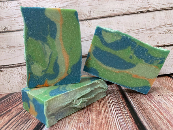 green blue and orange beer soap handmade in texas with hop delusion beer from karbach brewing company artisan soap handmade in texas by spunkndisorderly craft beer soaps