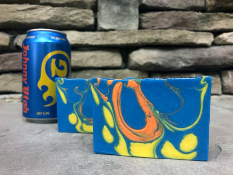 blue yellow and orange craft beer soap handmade with Johnny Utah pale ale from Georgetown brewing company Seattle Washington craft brewery beer soap for him spunkndisorderly craft beer soap