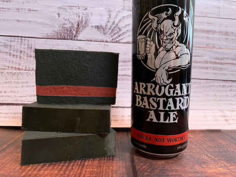 craft beer soap handmade with arrogant bastard ale from arrogant consortia Escondido California craft brewery beer soap for him with activated charcoal black and red artisan soap