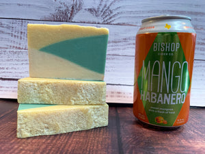 cider soap handmade in texas with mango habanero cider from bishop cider co. Dallas texas cidery yellow and green soap