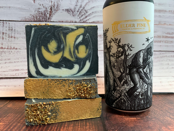 craft beer soap handmade with every villein is lemons craft beer from elder pine brewing & blending co gaithersburg Maryland craft brewery beer soap for him with activated charcoal lemon beer soap