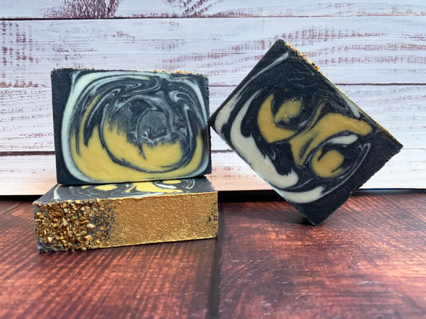 black white and yellow lemon craft beer soap handmade with every villein is lemons craft beer from elder pine brewing and blending co gaithersburg Maryland craft brewery beer soap for him activated charcoal soap