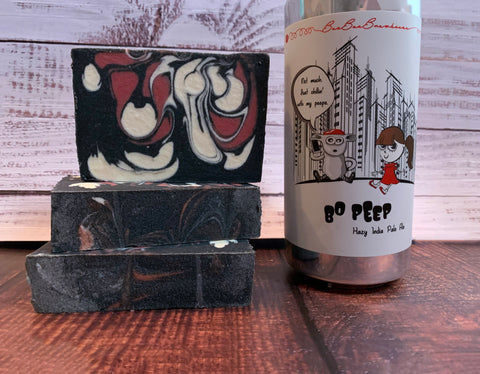 craft beer soap for her handmade in texas with bo peep beer from baa baa brewhouse houston texas craft brewery hazy India pale ale beer red black and white soap with activated charcoal