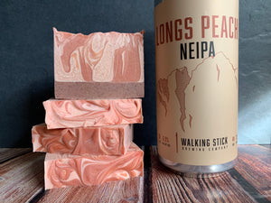 longs peach neipa craft beer soap handmade with craft beer from walking stick brewing company houston texas craft brewery peach beer soap exfoliating soap for him