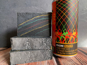 black craft beer soap for him with activated charcoal handmade with bend that arc craft beer from imagine nation craft brewery Missoula Montana craft brewery  handmade soap with lemon essential oil