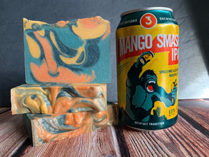 craft beer soap handmade in texas with mango smash ipa beer from 3 nations brewing co orange blue and yellow mango craft beer soap spunkndisorderly