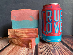 pink and blue craft beer soap handmade in texas with true love sour ale from Martin house brewing company Fort Worth texas craft brewery spunkndisorderly craft beer soap for her made in texas by texans