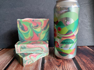 craft beer soap handmade with cloud curtain dipa craft beer from mountains walking brewery Bozeman Montana craft brewery pink and green beer soap made with essential oils