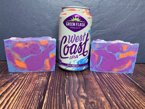 craft beer soap handmade in texas with west coast ipa India pale ale beer from green flash brewing co San Diego California craft brewery purple orange and blue soap floral craft beer soap for her