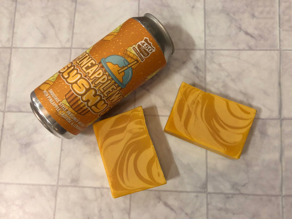 craft beer soap handmade with pineapple whip slushy xl beer from 450 north brewing company yellow pineapple soap