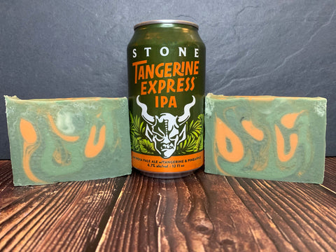 green and orange craft beer soap handmade with tangerine express ipa from stone brewing escondido california craft brewery sweet orange essential oil soap for him with activated charcoal spunkndisorderly