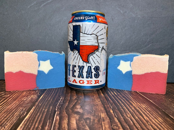texas flag soap handmade in texas with texas lager craft beer from community beer co Dallas texas craft brewery texas flag soap leather soap leather scented soap texas gift idea spunkndisorderly craft beer soap