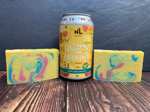 craft beer soap handmade in texas with passion for humanity craft beer from no label brewing company sour passionfruit beer soap yellow pink and blue tropical beer soap spunkndisorderly