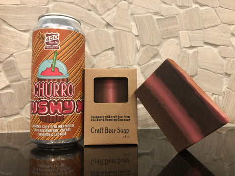 churro craft beer soap handmade in indiana with churro slushy xl beer from 450 north brewing company spunkndisorderly fun gift ideas