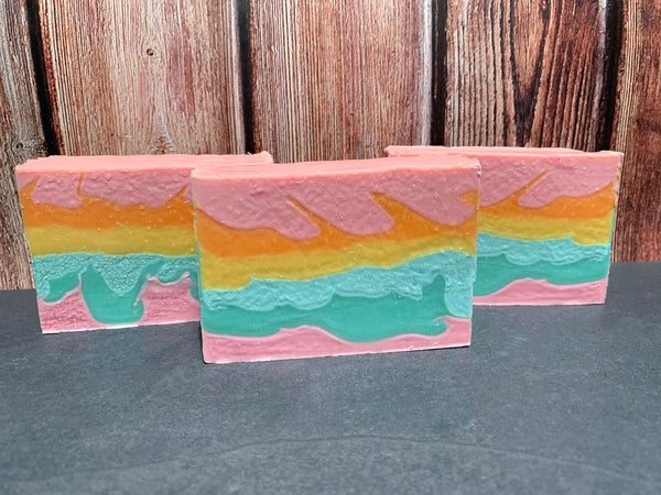 artisan cold process soap craft beer soap handmade with rainbow sherbet craft beer from prairie artisan ales mcalester Oklahoma craft brewery fruity craft beer soap for her pastel pink orange yellow and teal soap spunkndisorderly
