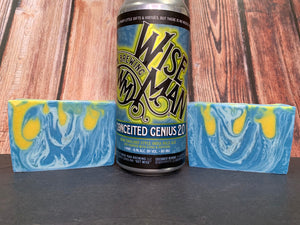 blue and yellow craft beer soap handmade in texas with conceited genius 2.0 ipa craft beer from wise man brewing Winston-Salem North Carolina craft brewery craft beer soap for him by spunkndisorderly craft beer soaps