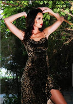 Animal Print  Velvet Spaghetti Strap with Side Slit and Ruched Skirt