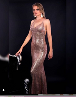 Rose Gold Sequin Spaghetti Strap Evening Gown