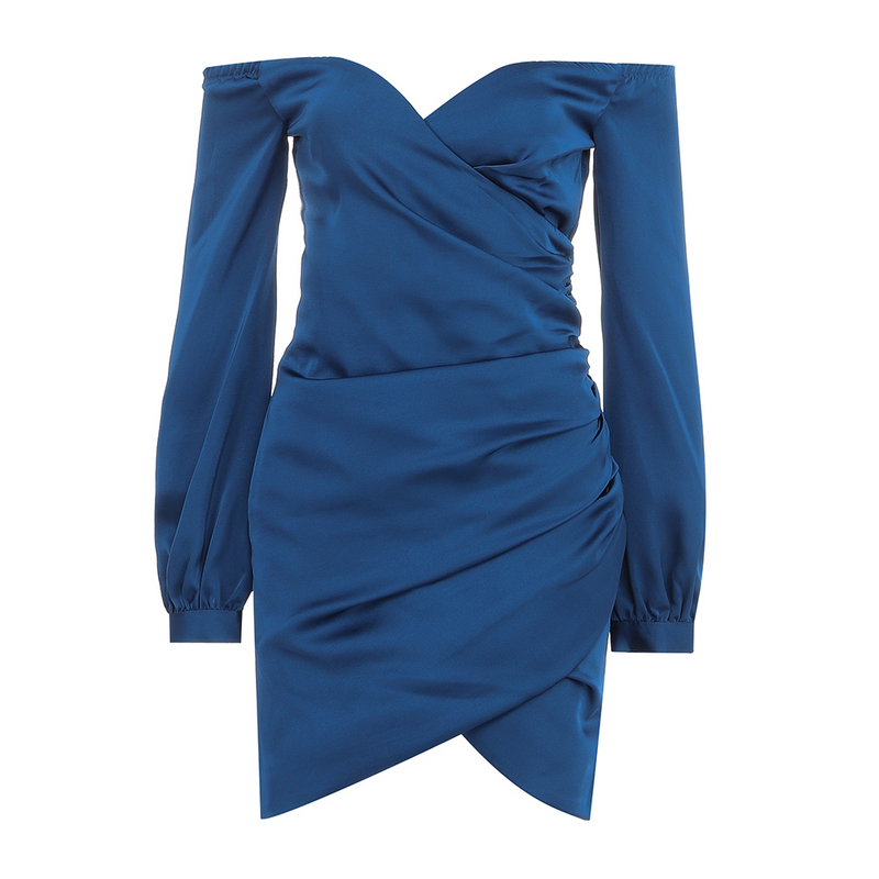 Midnight Blue Satin Mini Dress with Long Sleeves