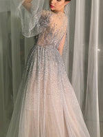 Silver Long Sleeved  Chiffon with Crystals Evening Gown
