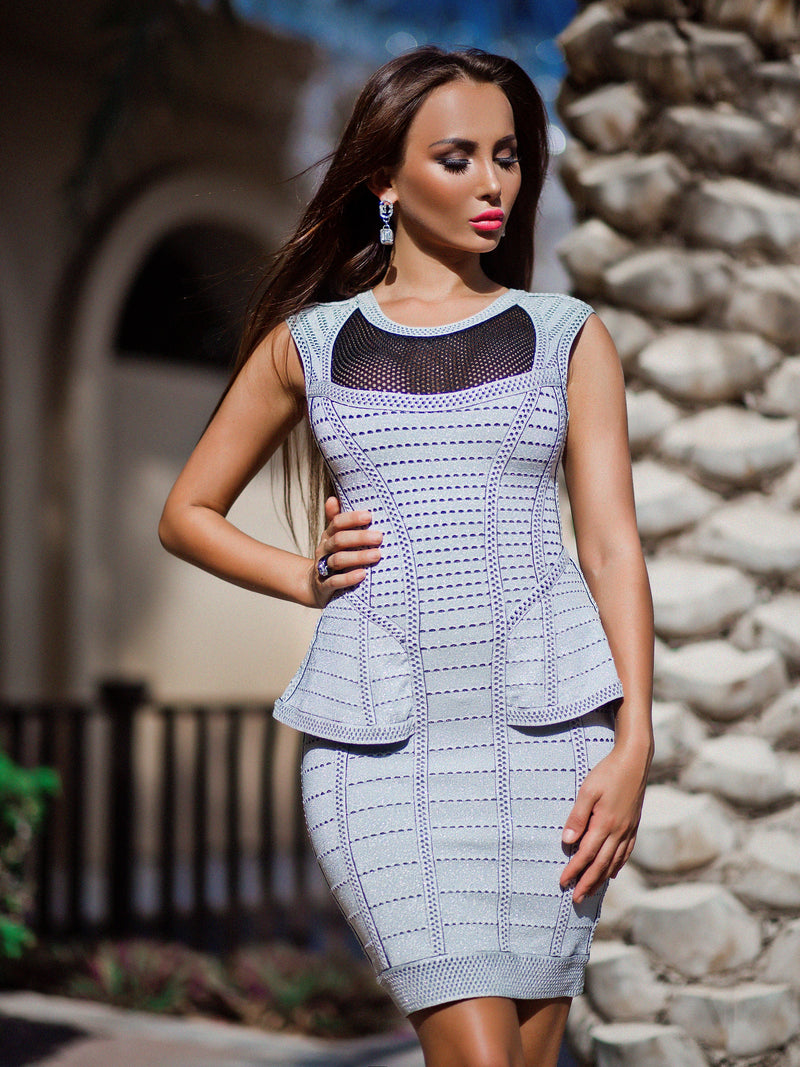 Grey Bandage Mini Dress with Black Net