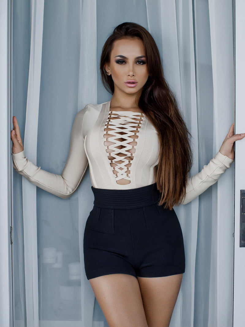 Beige Bandage Bodysuit with Lace Up Front