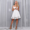 White Chiffon Lace A-line Mini Dress