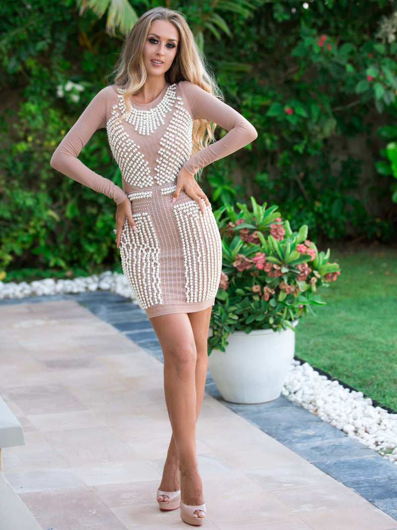 Nude Long Sleeve Mesh Bodycon with Pearls