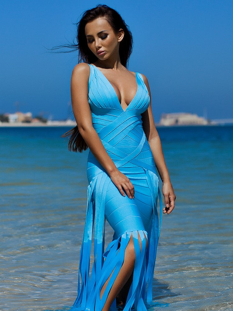 Blue Bandage Halter  Dress with Fringe