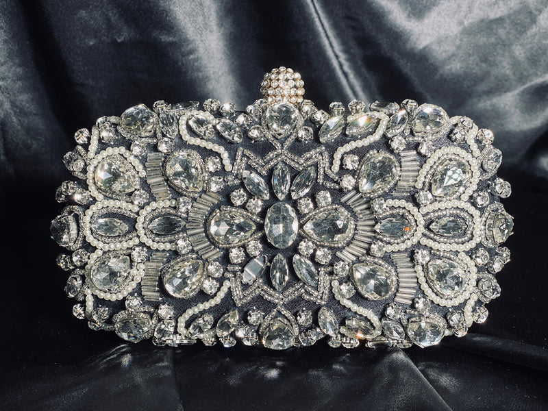 Black Clutch with Crystals