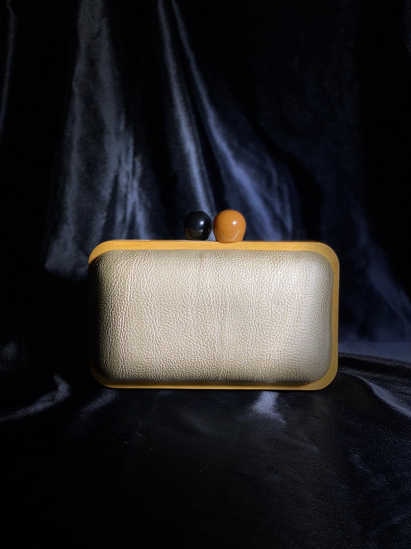 Matte Gold Clutch with Wood Detail