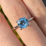 Round Cut Blue Topaz Solitaire Ring