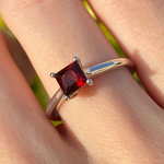 Princess Cut Red Garnet Ring
